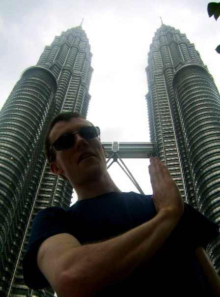 Holding up the Petronas Towers, Malaysia