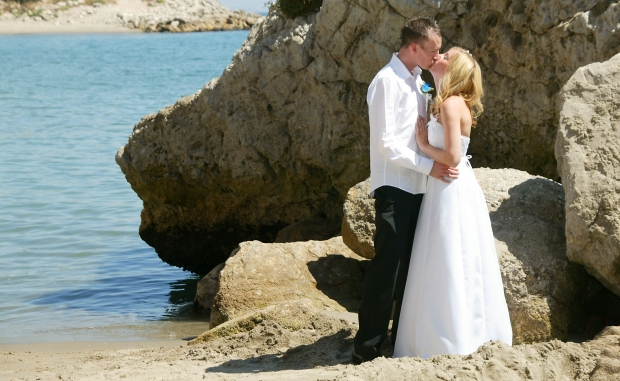 Our wedding day on the beach in Gibraltar