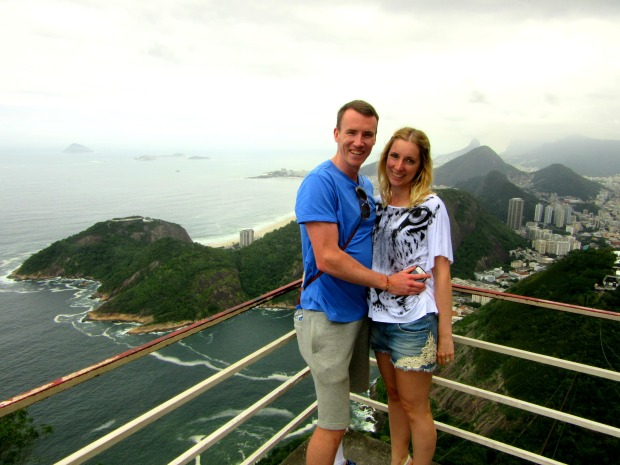 At the top of Sugarloaf Mountain overlooking Rio de Janiero, Brazil