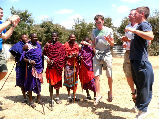 Being taught how to jump high like the men of the Maasai tribe