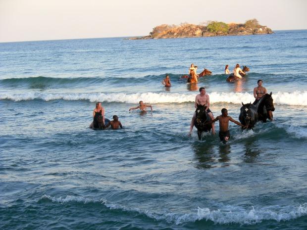 Riding our horses into Lake Malawi