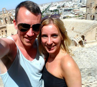 At El Jem Amphitheatre in Tunisia – one of my favourite photos of the two of us