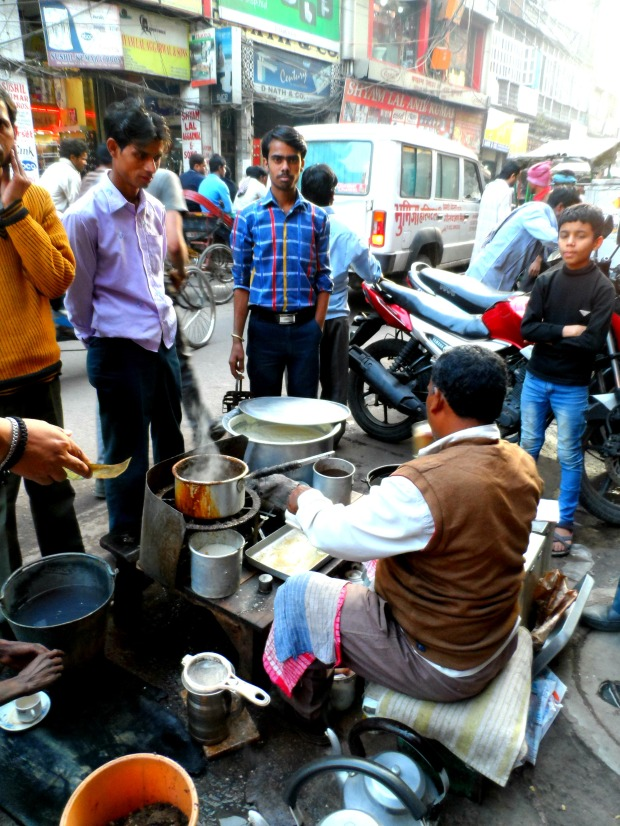 Selling chai on the street