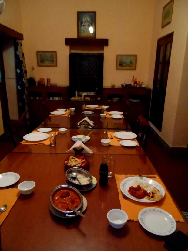 A declious dinner in the family's dining room