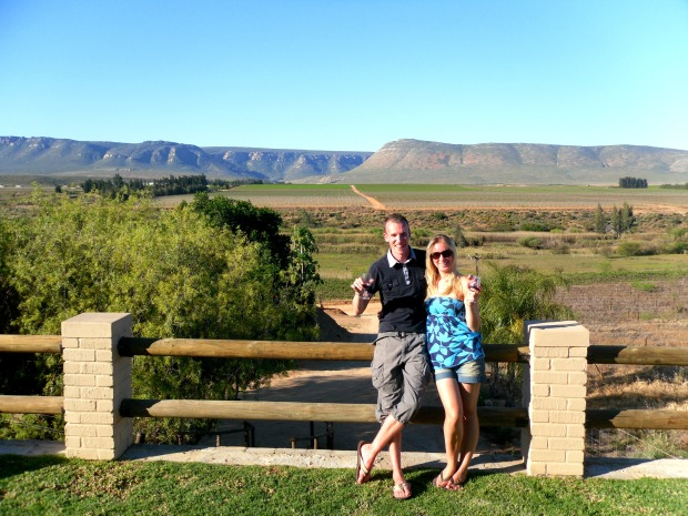 Spending the money on some delicious wine in the beautiful South African winelands