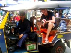 Taking a tuk tuk in Bangkok, Thailand