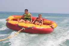 Riding on a sofa boat in Tunisia