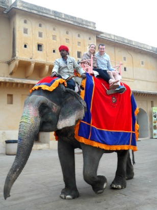 An elephant ride in Jaipur, India