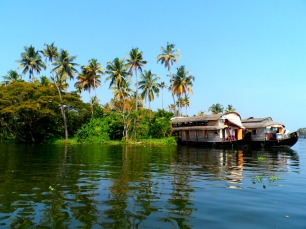 Gliding through the backwaters in Kerala, India