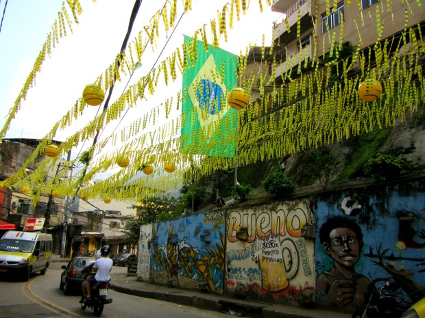 Street decorations in Rocinha favela