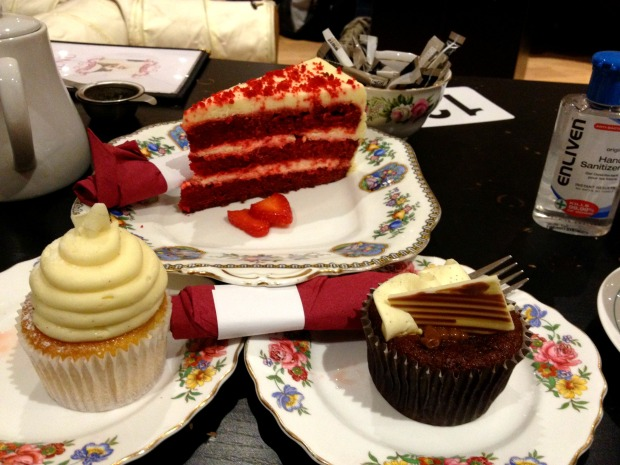Go for the slices of cake – much bigger than the cupcakes!