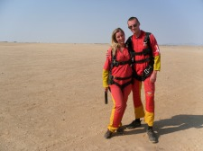 Getting prepared for skydiving over the Namibian desert