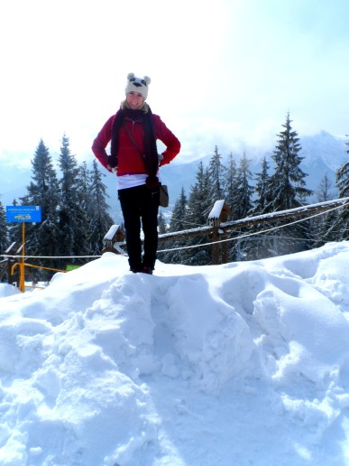 Climbing the snowy mountains in Poland