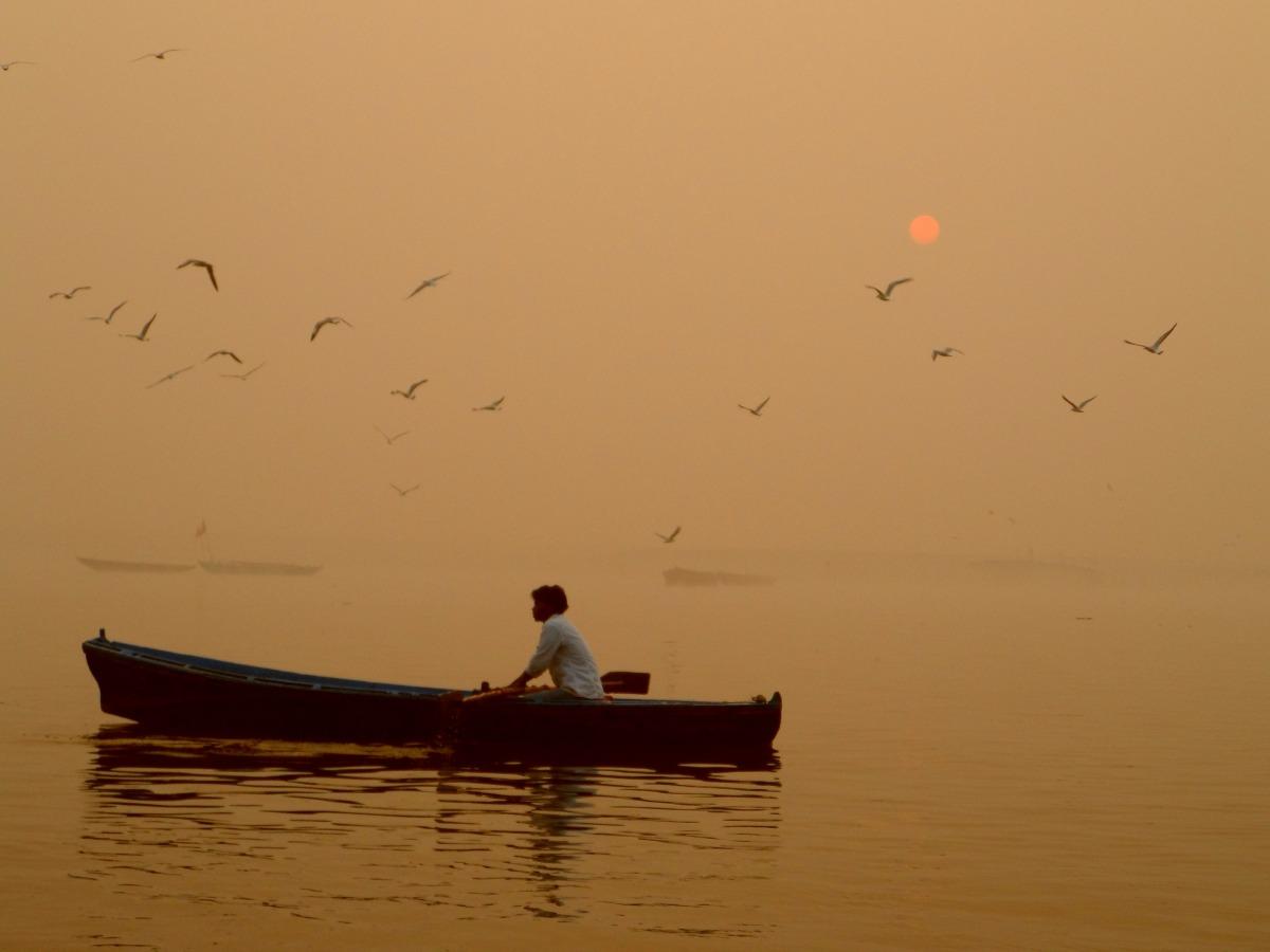 Sunrise at River Ganes Varanasi India