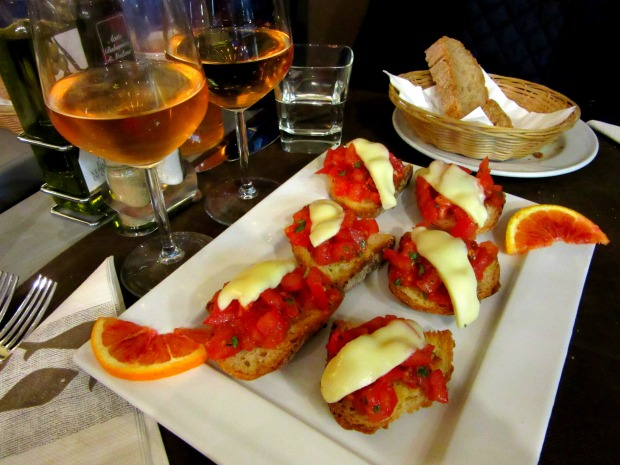 Wine and bruschetta in Cinque Terre Italy