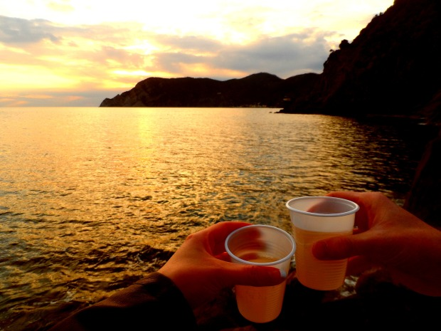 Drinking wine watching the sunset in Cinque Terre